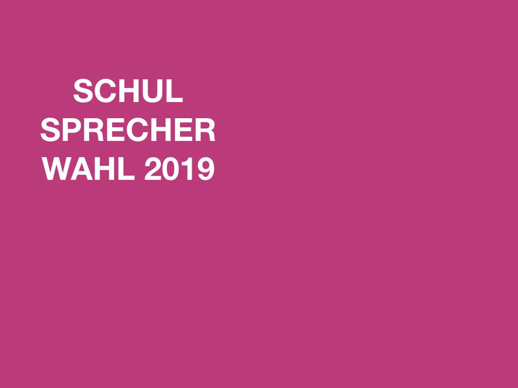 SCHULSPRECHERWAHL 2019